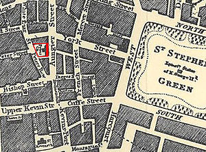St. Peter's Church, Aungier Street, Dublin - Location of St. Peter's church (in red) on an 1829 map of Dublin