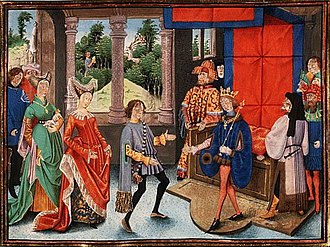 Pepin of Herstal - Pepin of Heristal (right) being offered the services of Saint Hubert (left)