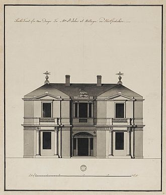 William Blake (economist) - St John's Lodge, original architectural drawing by Robert Adam; the actual design was somewhat modified.