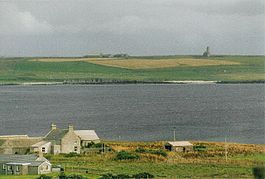 Egilsay from Rousay with St Magnus Church on the skyline