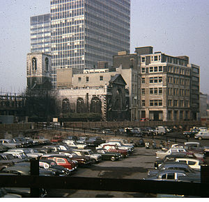 St Mary Aldermanbury - The blitzed church in situ in London, 1964