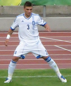 Kostas Stafylidis - Stafylidis playing for Greece under-19s against Estonia under-19s in July 2012