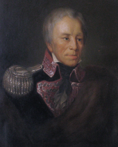 Portrait of General Mokronowski dressed in military uniform with silver epaulettes and amaranth lapels adorned with a silver wavy line, the symbol of generals rank in Polish forces.