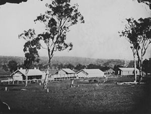 Warwick railway station, Queensland - Railway buildings and Mill Hill Station at Warwick circa 1875