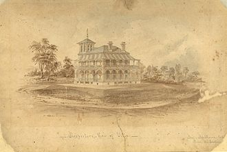 Government House, Brisbane - Perspective drawing of Villa Fernberg by Benjamin Backhouse, circa 1864