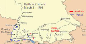 Battle of Ostrach - French troops wintered in France and crossed the Rhine, moving toward Ostrach in March 1799; Austrian troops wintered in Bavaria, crossed the Lech, and approached Ostrach from the east.