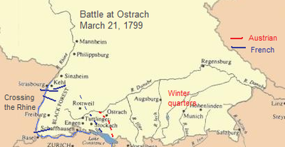 A map of southwestern Germany, where troops wintered in the east and west, on the banks of two rivers; the troops converged at a point in the center.
