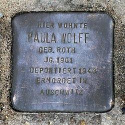 Photo of Paula Wolff brass plaque
