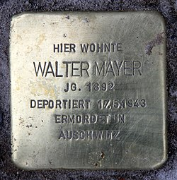 Photo of Walter Mayer brass plaque