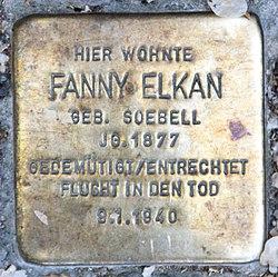 Photo of Fanny Elkan brass plaque