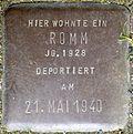 Stumbling stone for a Romm, stone no.  104 (Holzmarkt 1)