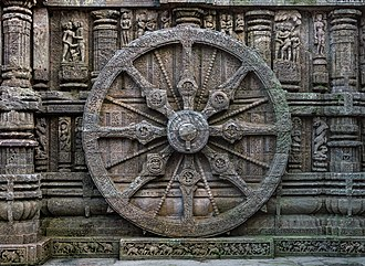 Konark Sun Temple - A stone wheel engraved in the walls of the temple. The temple is designed as a chariot consisting of 24 such wheels. Each wheel has a diameter of 9 feet 9 inches with 8 spokes