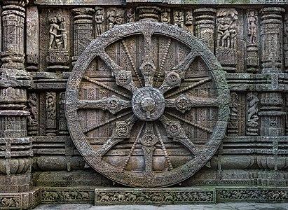 Stone wheel engraved in the 13th century built Konark Sun Temple in Orissa, India