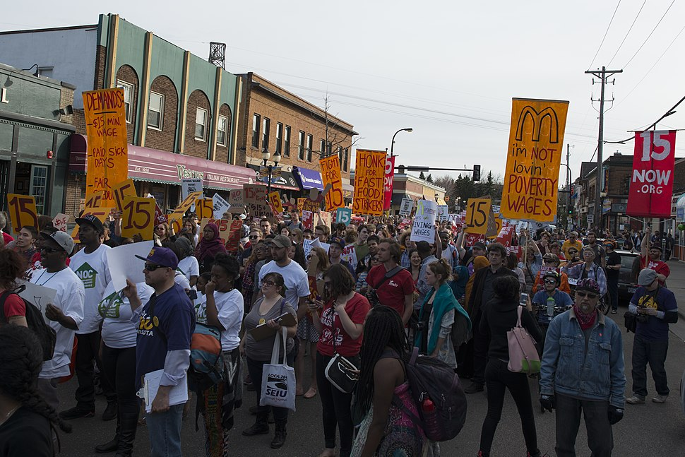 Strike and a protest march for a $15 minimum wage in Dinkytown