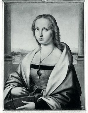 Young Woman with Unicorn - How the painting appeared before the first 20th century restoration, with the sitter as St. Catherine of Alexandria with wheel and palm frond.