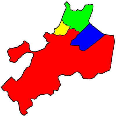 Map of Suffolk County showing (clockwise from bottom) Boston (red), Chelsea (yellow), Revere (green), and Winthrop (blue). Interior water features such as Boston Harbor are filled in by the color of the containing city. Suffolk County.png