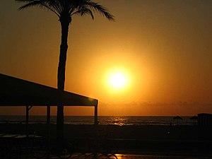 Sunrise on beach in Valencia