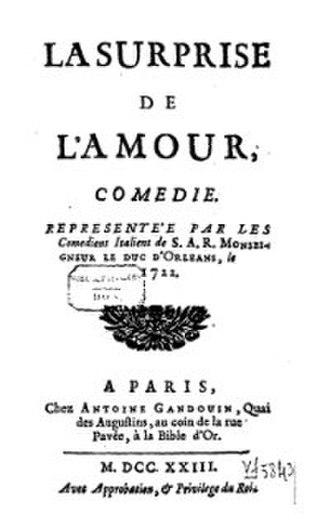La Surprise de l'amour - Front page of 1723 Edition of La Surprise de l'amour