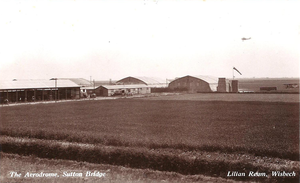 RAF Sutton Bridge - R.A.F. Practice Camp Sutton Bridge late 1920s. View from west side airfield embankment main entrance.