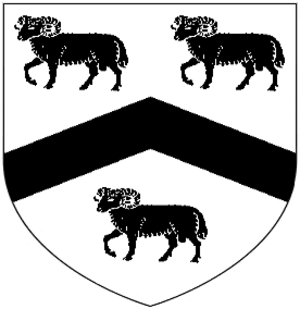 Orchard Wyndham - Arms of Sydenham of Orchard Sydenham: Argent, a chevron between three rams passant guardant sable. These are the arms of Sydenham of Sydenham differenced by a chevron sable