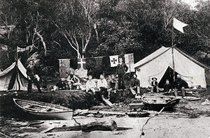 """Sydney artists' camps - One of the camps, probably """"Lotus camp"""" at Edwards Beach, Balmoral, c. 1890"""
