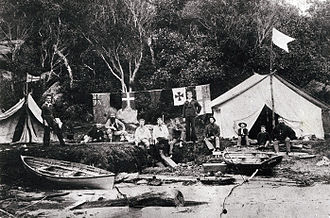"Sydney artists' camps - One of the camps, probably ""Lotus camp"" at Edwards Beach, Balmoral, c. 1890"