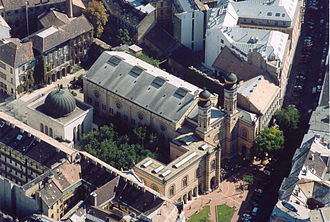 Dohány Street Synagogue - Aerial view of the Dohány Street Synagogue complex