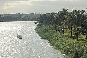 Nausori - View of Syria park and Rewa river from the old Rewa Bridge.