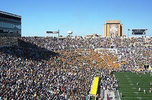 "Notre Dame Stadium - ""Touchdown Jesus"" is visible from inside the stadium"