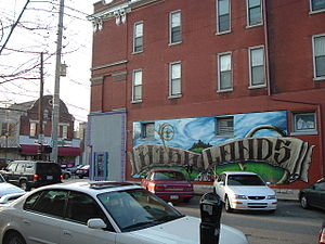 The Highlands, Louisville - A wall mural at the intersection of Baxter Ave and Highland Ave