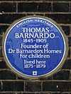 THOMAS BARNARDO 1845-1905 Founder of Dr Barnardo's Homes for children lived here 1875-1879.jpg