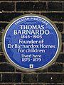 THOMAS BARNARDO 1845-1905 Founder of Dr Barnardo's Homes for children lived here 1875-1879.jpg