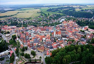 The more extreme Hussites became known as Taborites, after the town of Tabor that became their center Tabor CZ aerial old town from north B1.jpg