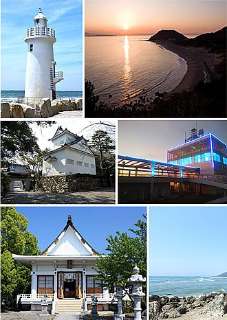 Tahara, Aichi - Upper: Iragomisaki Lighthouse, Cape Iragomi Middle: Tahara Castle, Mt Zao Lookout Lower:Kazan Jinja, Akahane Beach
