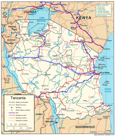 Highway and rail map of Tanzania By MapMaster (Own work) [GFDL (https://www.gnu.org/copyleft/fdl.html) or CC BY-SA 4.0-3.0-2.5-2.0-1.0 (https://creativecommons.org/licenses/by-sa/4.0-3.0-2.5-2.0-1.0)], via Wikimedia Commons