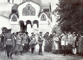 Pushkin, Saint Petersburg - Nicholas II meets deputies after the consecration of the Fyodor Cathedral (1912)