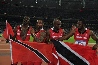 Trinidad and Tobago at the 2012 Summer Olympics - The Trinidad and Tobago 4 × 100 m relay team that won the silver medal