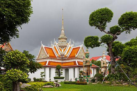 Ordination Hall with Yaksha guardians in the Wat Arun Temple, Bangkok, Thailand