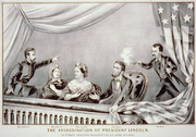 Assassination of Abraham Lincoln, artist's depiction from 1865. Assassin John Wilkes Booth on the right.