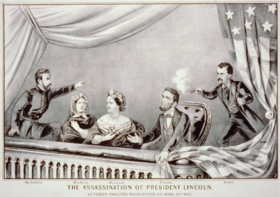 Assassination of Abraham Lincoln From left to right: Major Henry Rathbone, Clara Harris, Mary Todd Lincoln, Abraham Lincoln, and John Wilkes Booth.