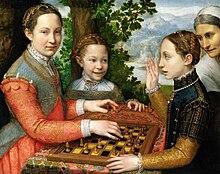 Le sorelle della pittrice Lucia, Minerva e Europa Anguissola giocano a scacchi, 1555