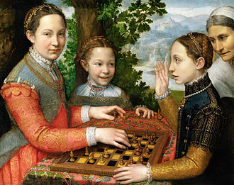 Sofonisba Anguissola - The artist's sisters are depicted in The Chess Game, 1555.