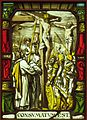 The Crucifixion painted glass, by unknown artist, after design by Hans Holbein the Younger, San Diego Museum of Art.JPG