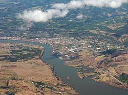 An aerial view of The Dalles, Oregon
