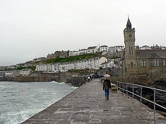 Porthleven - Image: The Institute and Harbour Road, Porthleven geograph.org.uk 230482
