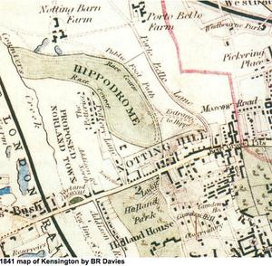 Kensington Hippodrome - 1841 map of the Environs of London, showing the Hippodrome