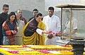 The King of Bhutan, His Majesty Jigme Khesar Namgyel Wangchuck and the Bhutan Queen, Her Majesty Jetsun Pema Wangchuck paying floral tributes at the Samadhi of Mahatma Gandhi, at Rajghat, in Delhi on October 24, 2011.jpg