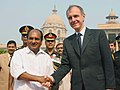 The Polish Defence Minister, Mr. Bogdan Klich, who arrived on a three-day visit to India, being received by the Defence Minister, Shri A. K. Antony, in New Delhi on November 04, 2008.jpg