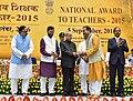 The President, Shri Pranab Mukherjee presenting the National Award for Teachers-2015 to Shri Chanchal Singha Roy (Andaman & Nicobar Island), on the occasion of the 'Teachers Day', in New Delhi.jpg