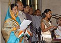 The President, Smt. Pratibha Devisingh Patil administering the oath as Minister of State to Ms. Agatha Sangma, at a Swearing-in Ceremony, at Rashtrapati Bhavan, in New Delhi on May 28, 2009.jpg